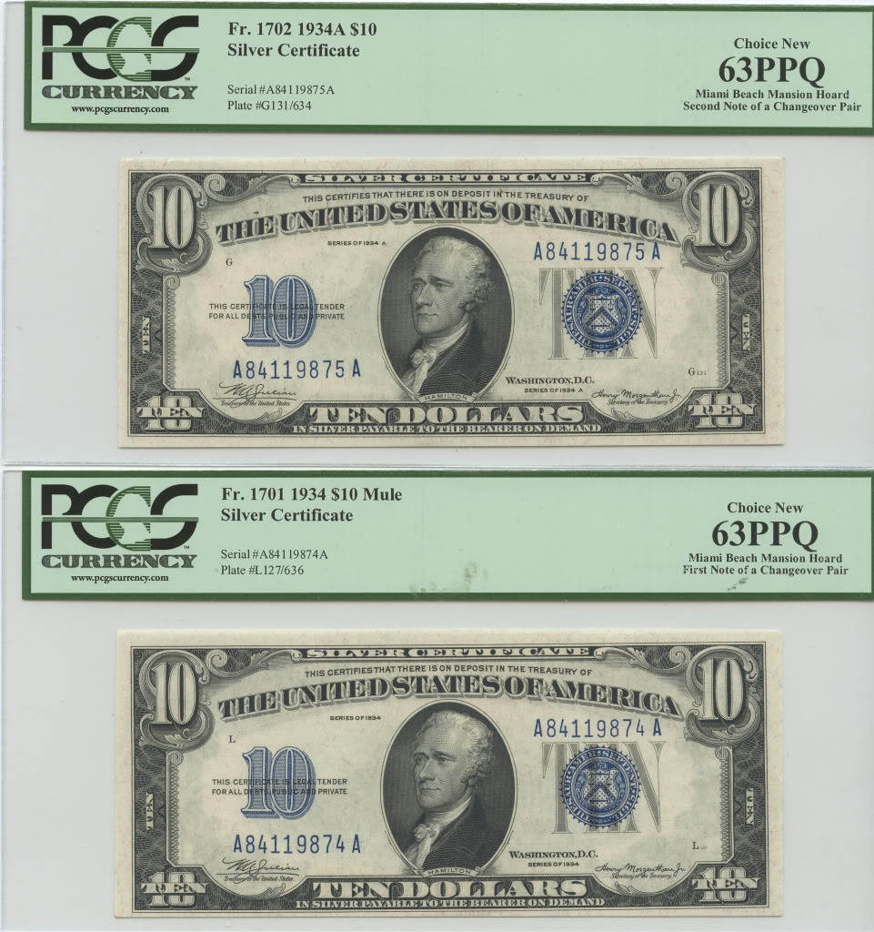 Miami Mansion Hoard $10 Silver Certificates Changeover Pair Obverses