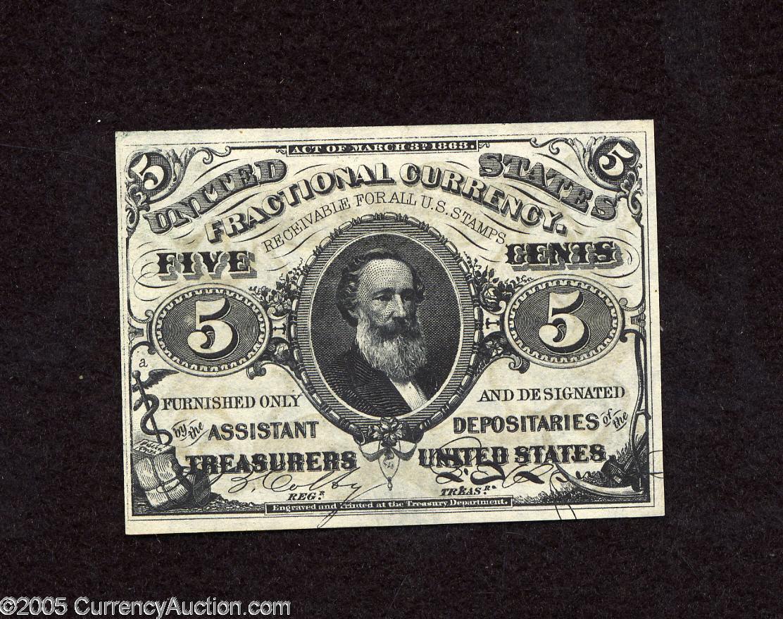Fr. 1238 Third Issue 5 Cent Note, Portrait of Spencer Clark