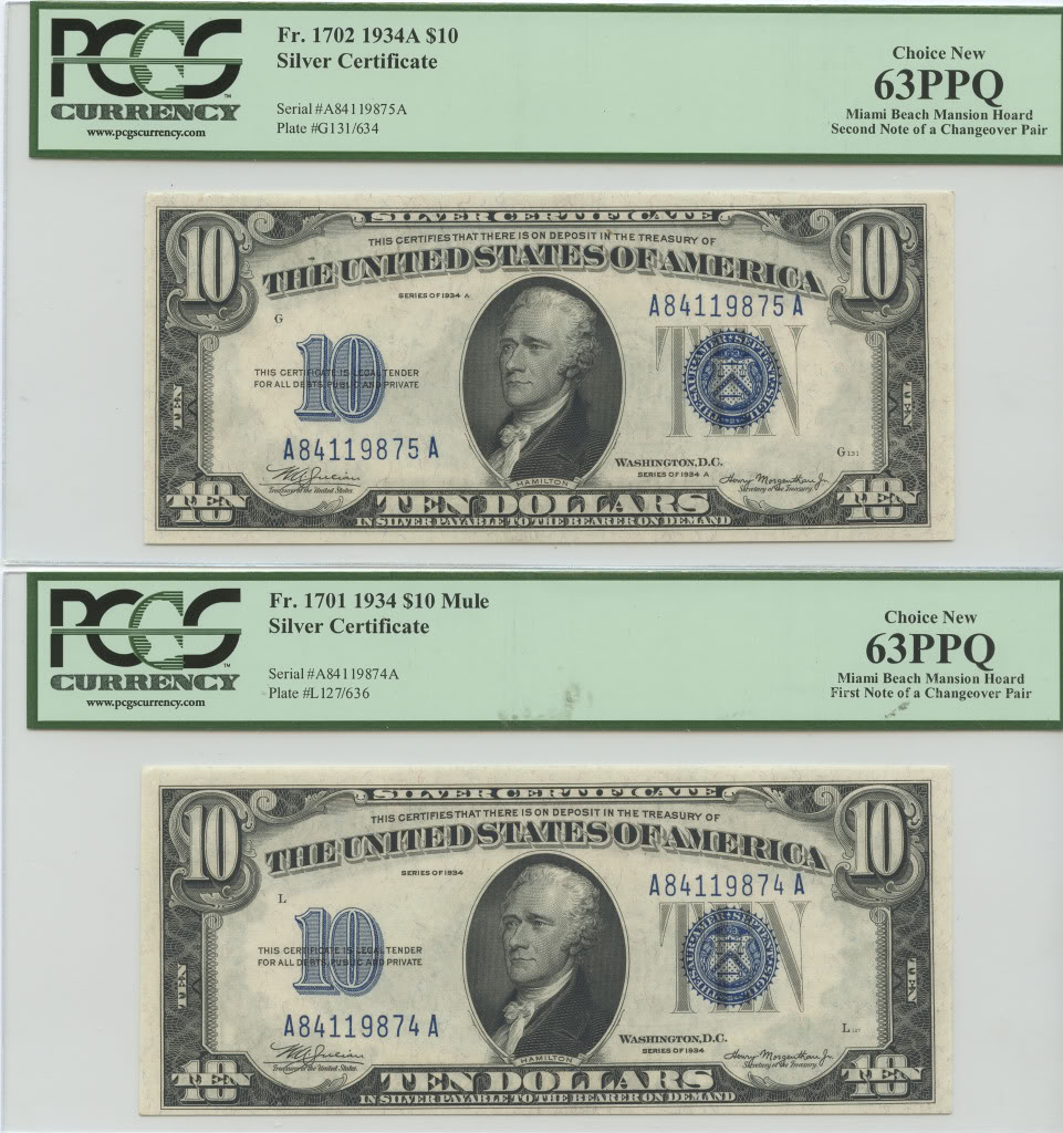 Fr. 1701-1702 1934-1934A $10 Silver Certificate Changeover Pair - Miami Beach Mansion Hoard - PCGS New 63 PPQ & PCGS New 63 PPQ
