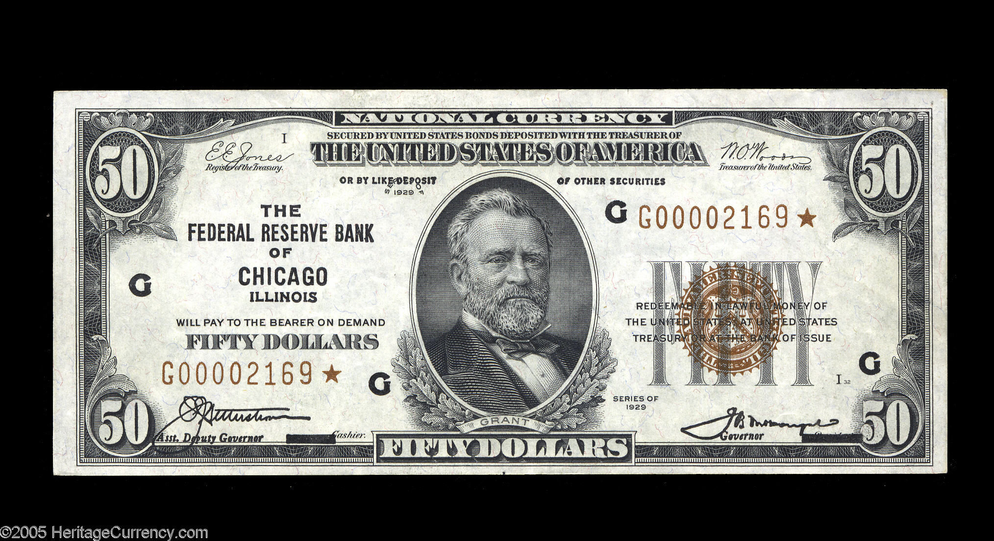 Fr. 1880-G* 1929 $50 Federal Reserve Bank Note Star from Chicago - Heritage Auctions:  September 23, 2005 - Extremely Fine Sold for $6,900