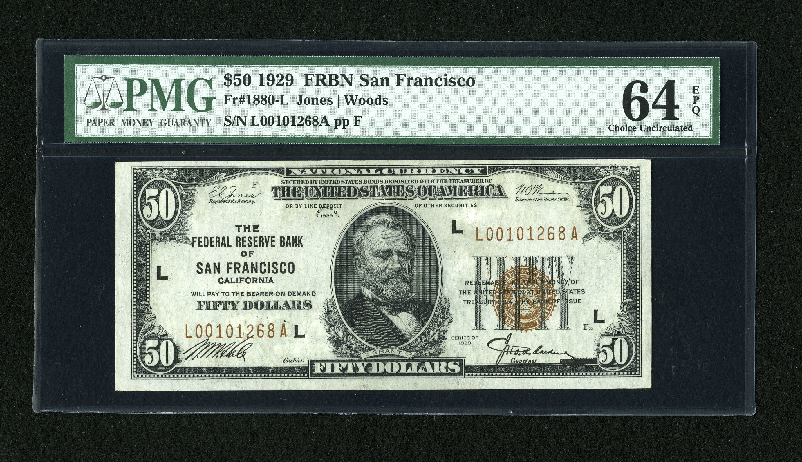 Fr. 1880-L 1929 $50 Federal Reserve Bank Note PMG Choice Unc. 64 - Heritage Auction: May 19, 2009 - Sold for $402.50