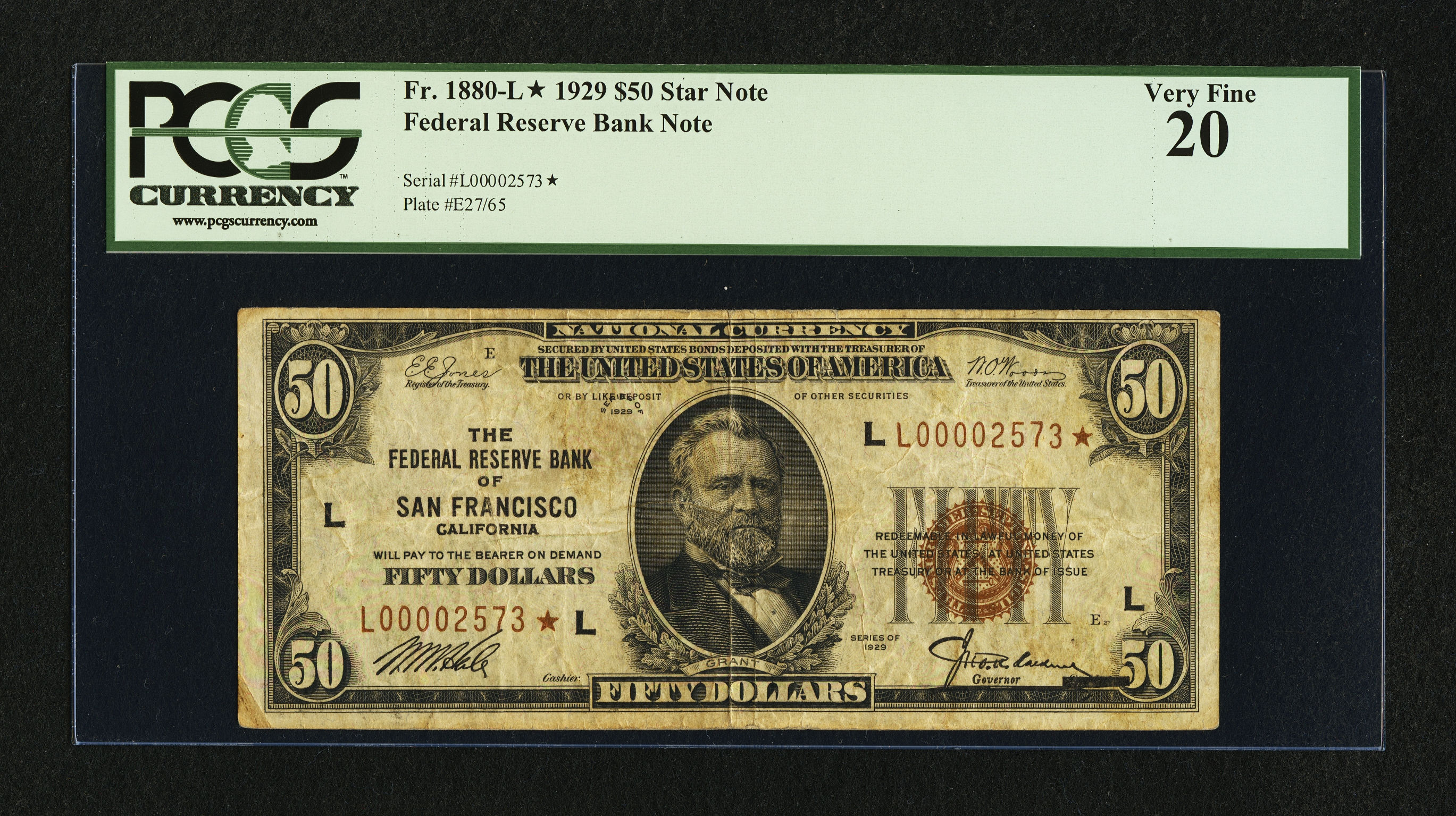 Fr. 1880-L* 1929 $50 Federal Reserve Bank Note Star from San Francisco - Heritage Auctions:  September 9, 2011 - PCGS VF 20 Sold for $4,312.50
