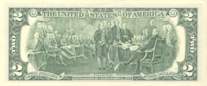"John Trumbull's ""Signing of the Declaration of Independence"", adapted for Fr. 1935 1976 $2 Federal Reserve Note"