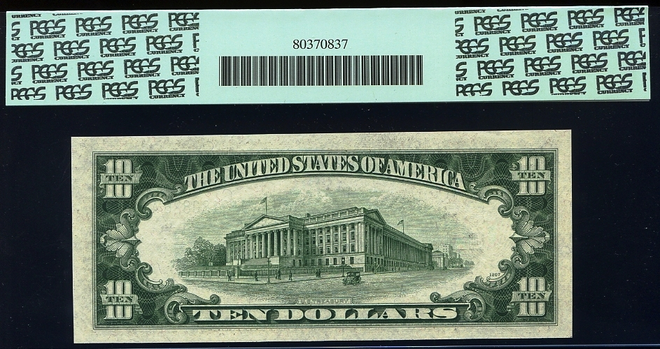 Fr. 1960-J 1934D $5/$10 Double Denomination Federal Reserve Note PCGS Gem New 65 PPQ Back