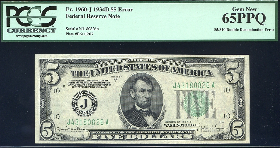Fr. 1960-J 1934D $5/$10 Double Denomination Federal Reserve Note PCGS Gem New 65 PPQ Front