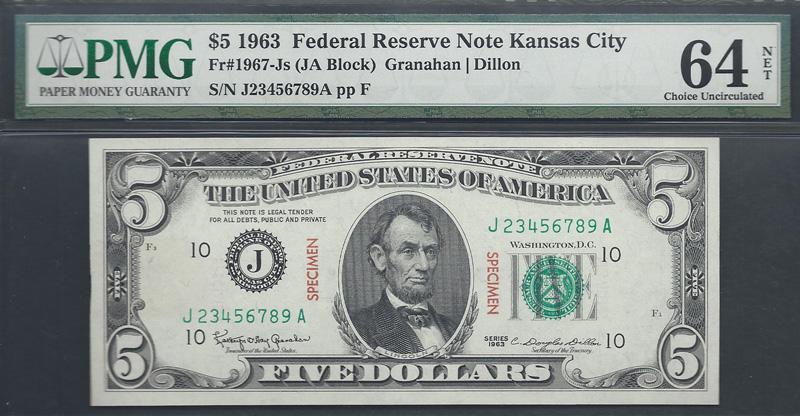 """Fr. 1967-Js """"Specimen"""" 1963 $5 Federal Reserve Note, Granahan-Dillon, PMG Ch. Unc. 64 NET"""
