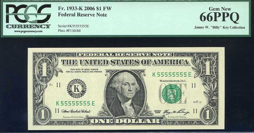 2006 $1 FRN, serial 55555555 - asking $1,400 USARare
