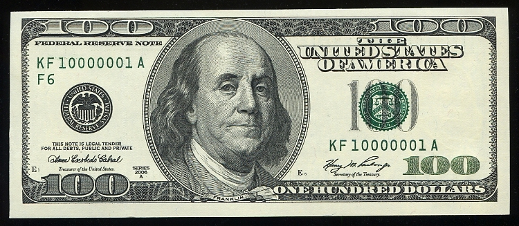 2006A $100 FRN, serial 10000001 - asking $800 - USARare