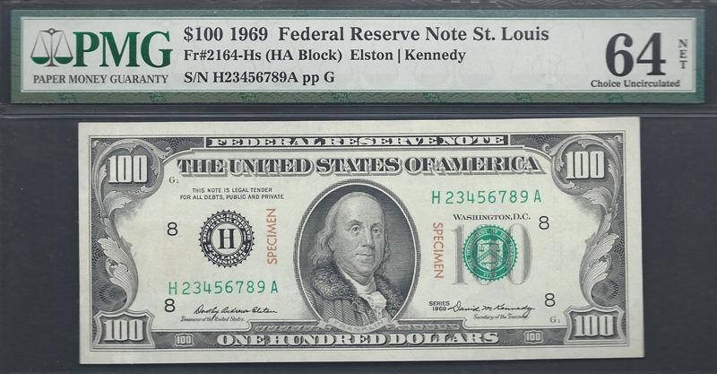 "Fr. 2164-Hs ""Specimen"" 1969 $100 Federal Reserve Note, Elston-Kennedy, PMG Ch. Unc. 64 NET"