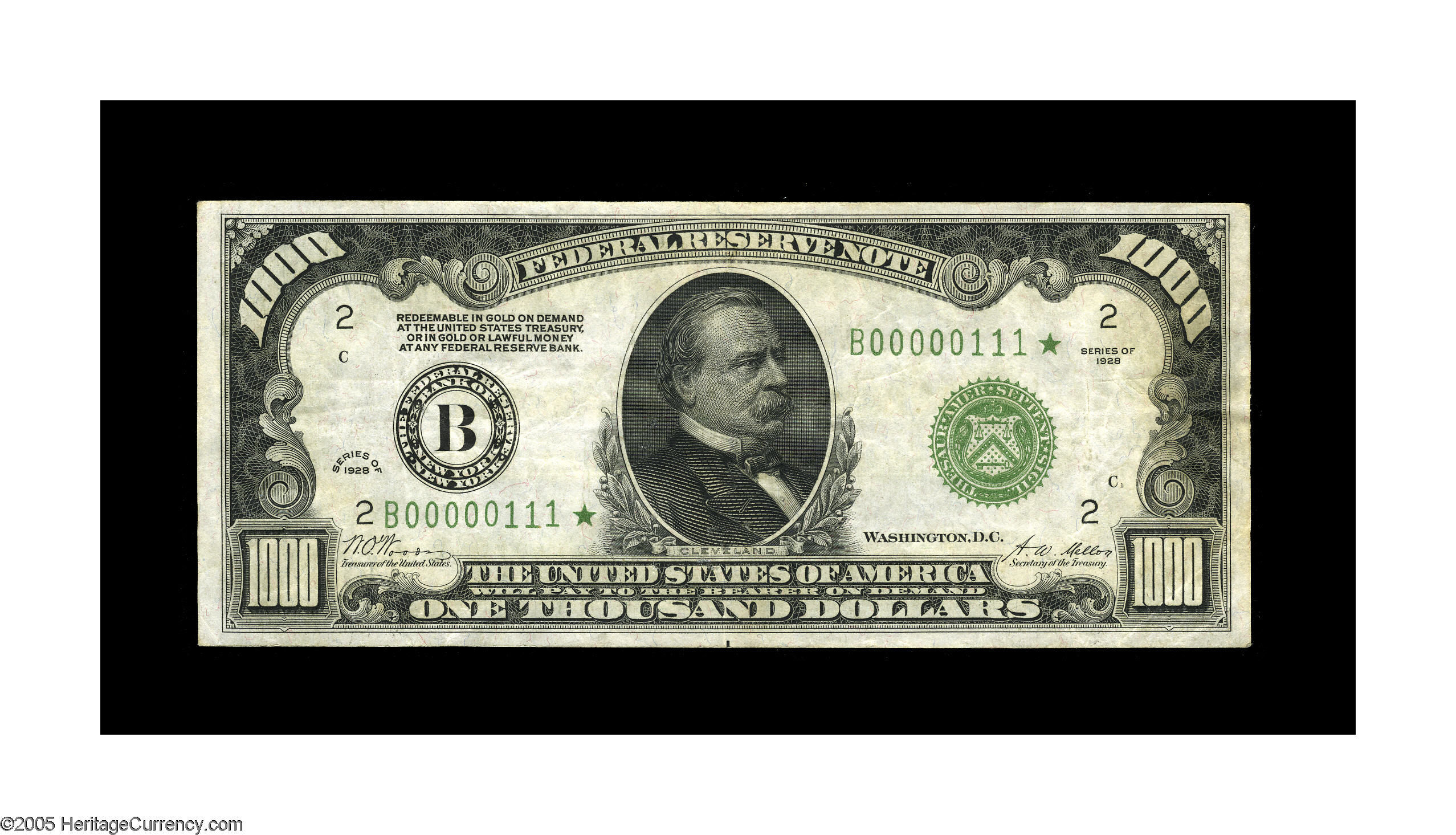 Fr 2210-B Star 1928 $1000 Federal Reserve Note, New York District *UNIQUE*