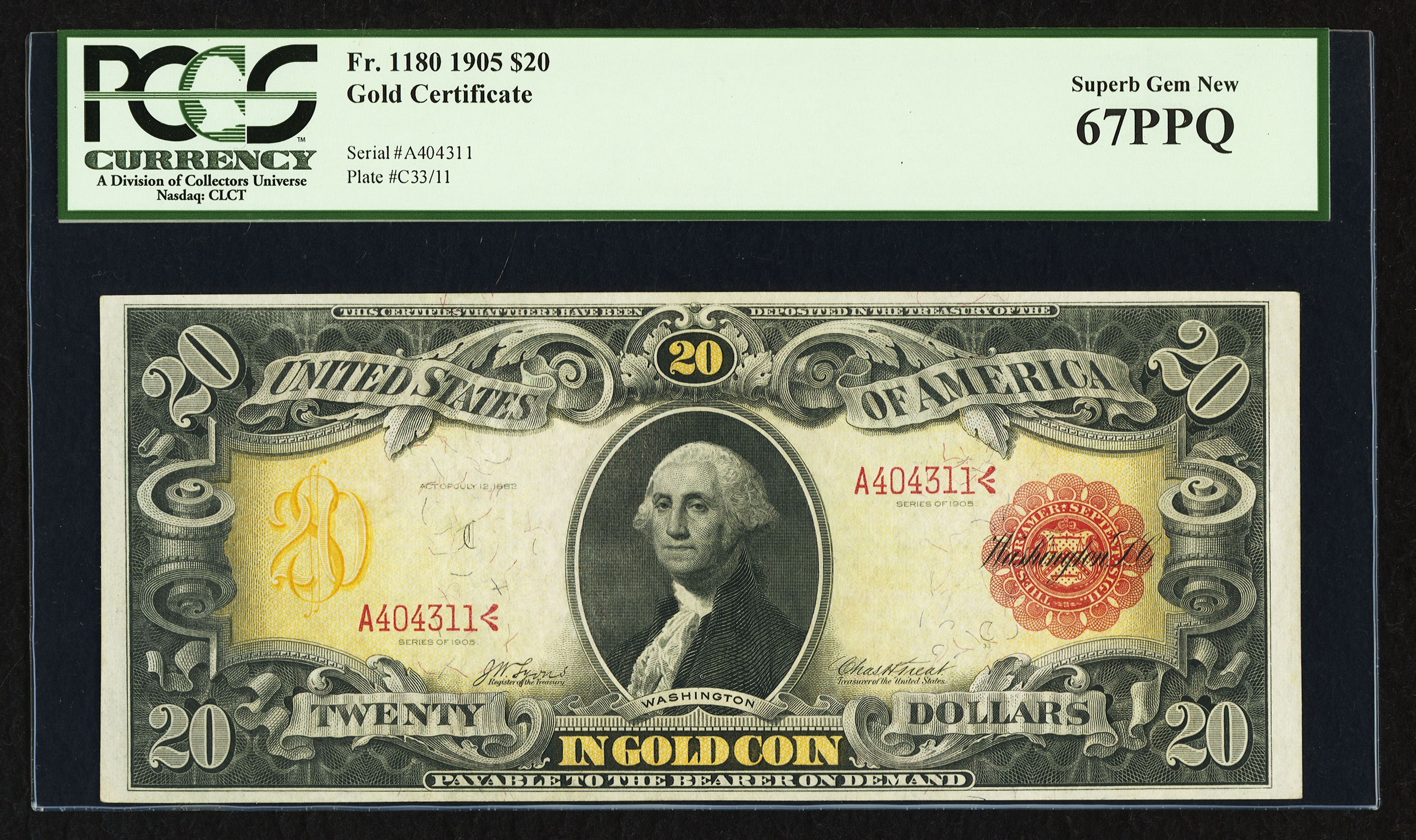 "Fr. 1180 1905 $20 Gold Certificate ""Technicolor Note"" - Lyons-Treat, PCGS Gem New 67 PPQ"