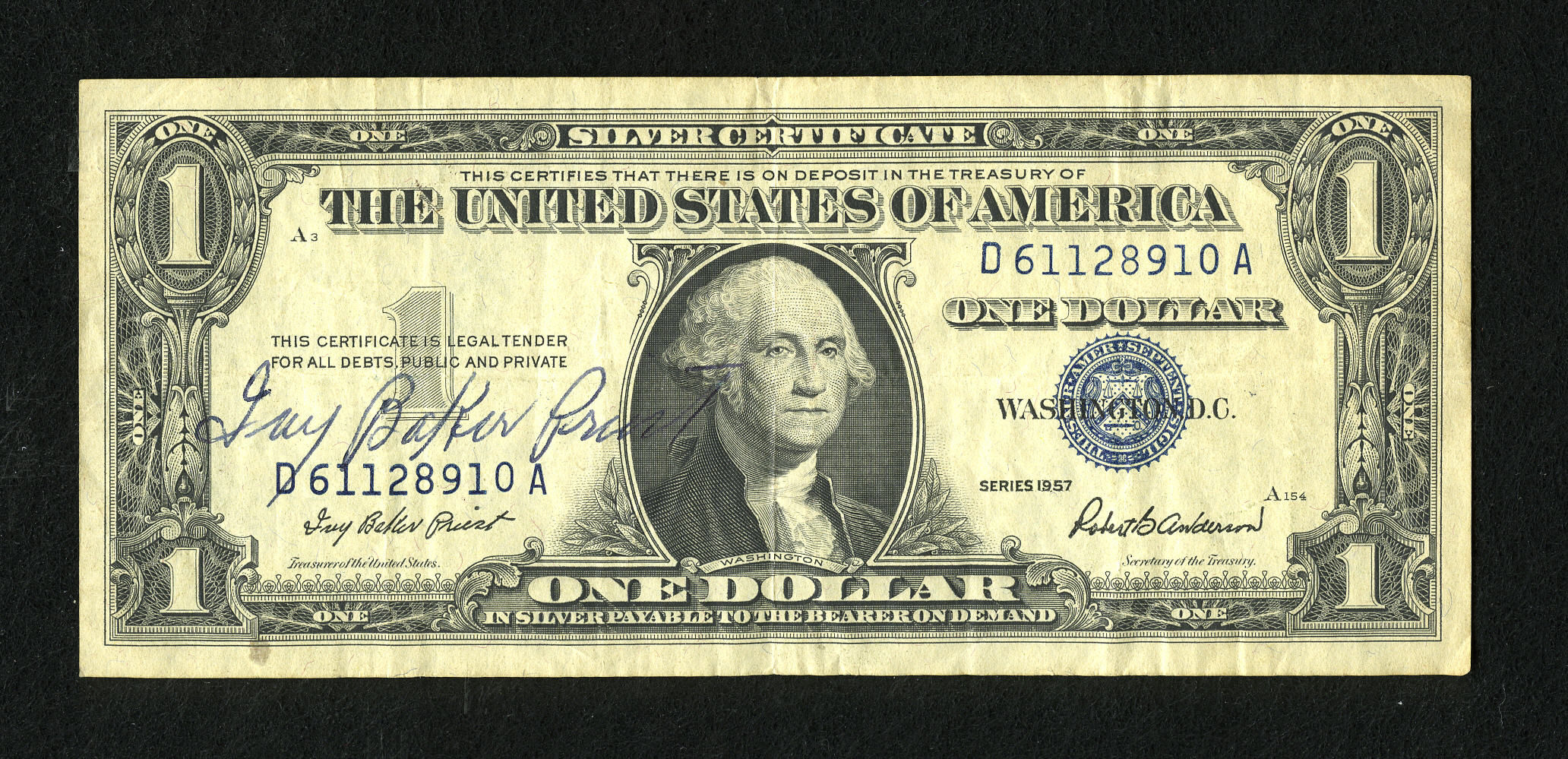 Fr. 1619 1957 $1 Silver Certificate - Priest-Anderson - Fine RAW - Courtesy Autograph Priest - Heritage Auctions