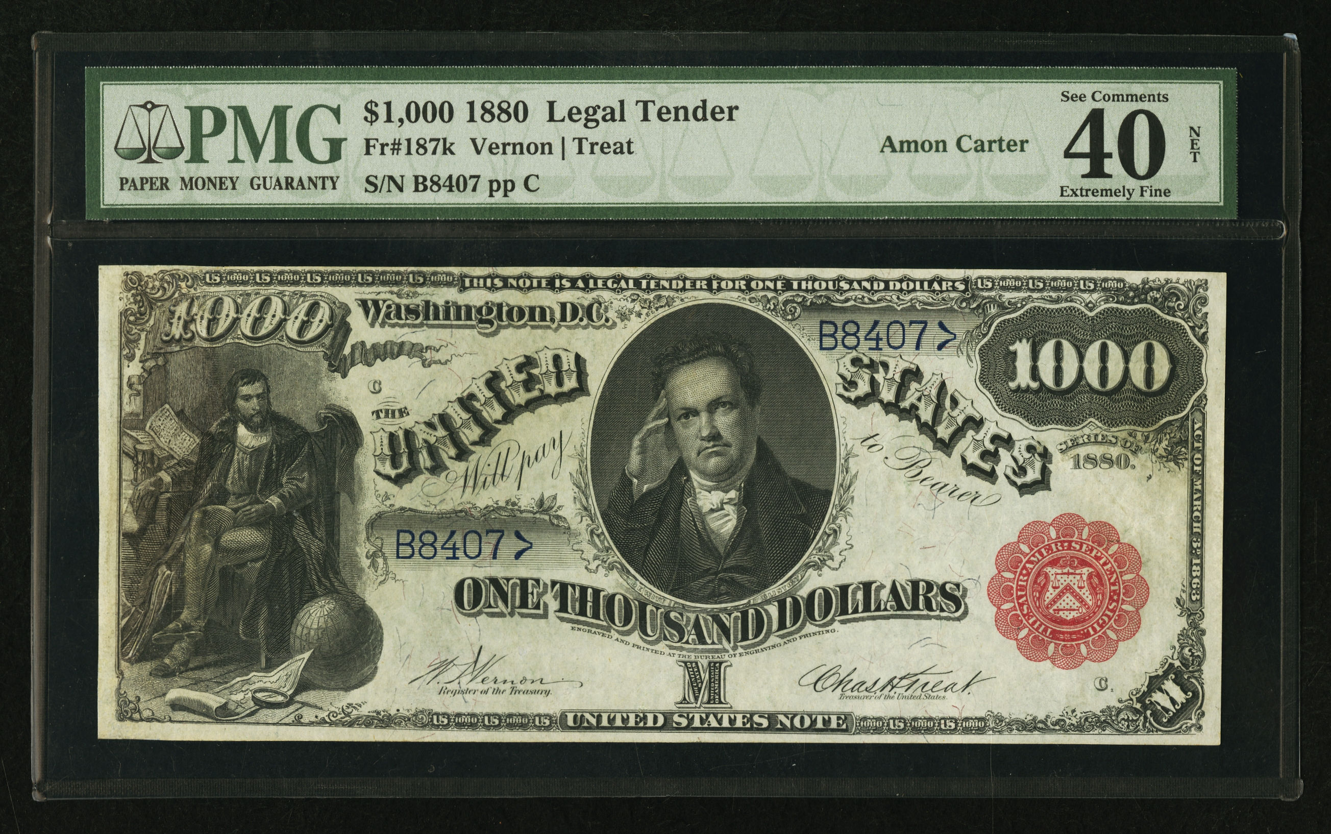 Fr. 187K 1880 $100 Legal Tender - Vernon-Treat - ex. Amon Carter, PMG Extremely Fine 40 with comments