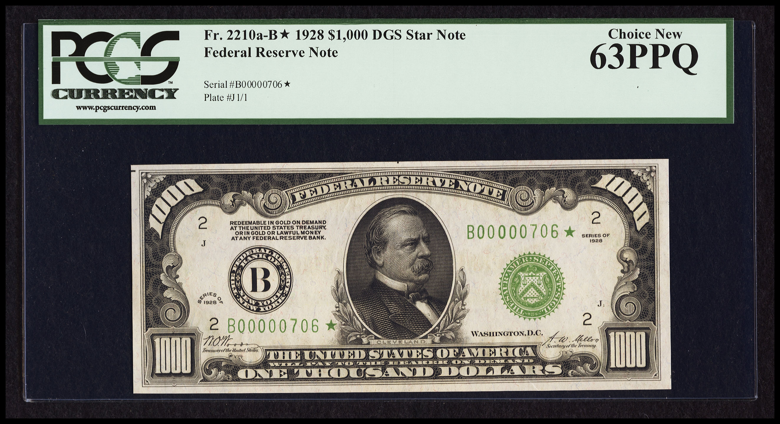 Fr. 2210a-B 1928 $1000 Federal Reserve Note, Dark Green Seal, Star Serial Number - Woods-Mellon, PCGS Choice New 63 PPQ