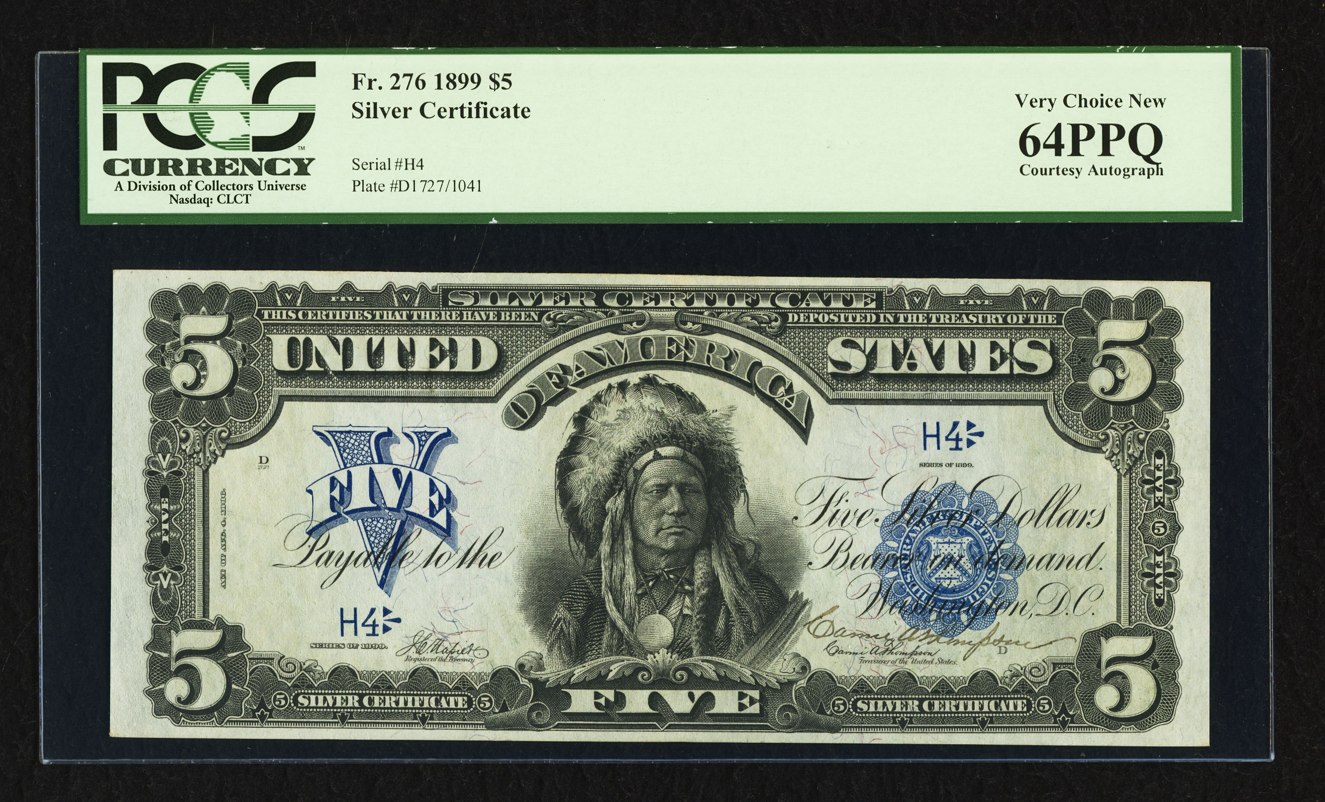 Fr. 276 1899 $5 Silver Certificate - Napier-Thompson - PCGS 64 PPQ - Thompson Courtesy Autograph, Serial H4 - Heritage ANA Signature Currency Auction Oct. 17-23, 2012