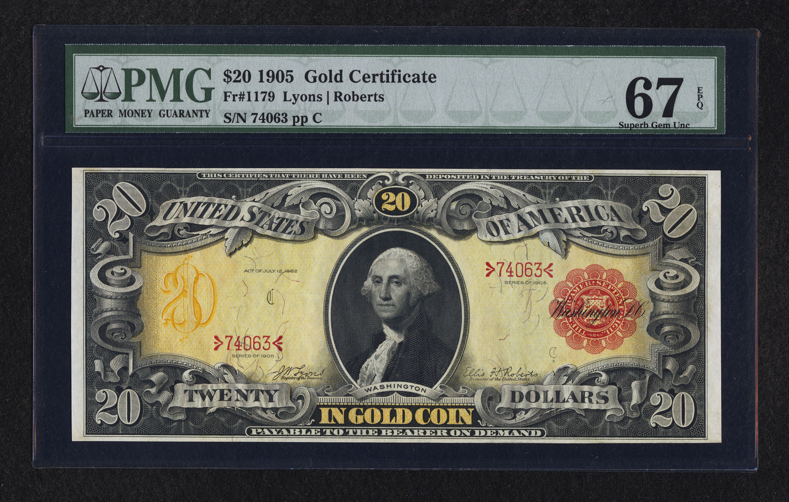 Fr. 1179 1905 $20 Technicolor Note Gold Certificate Lyons-Roberts PMG Superb Gem Uncirculated 68