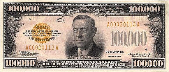 Fr. 2413 1934 $100,000 Dollar Bill - Gold Certificate - Signatures of Julian-Morgenthau - NONE are outstanding