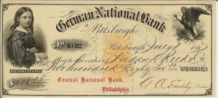 1867 German National Bank Check