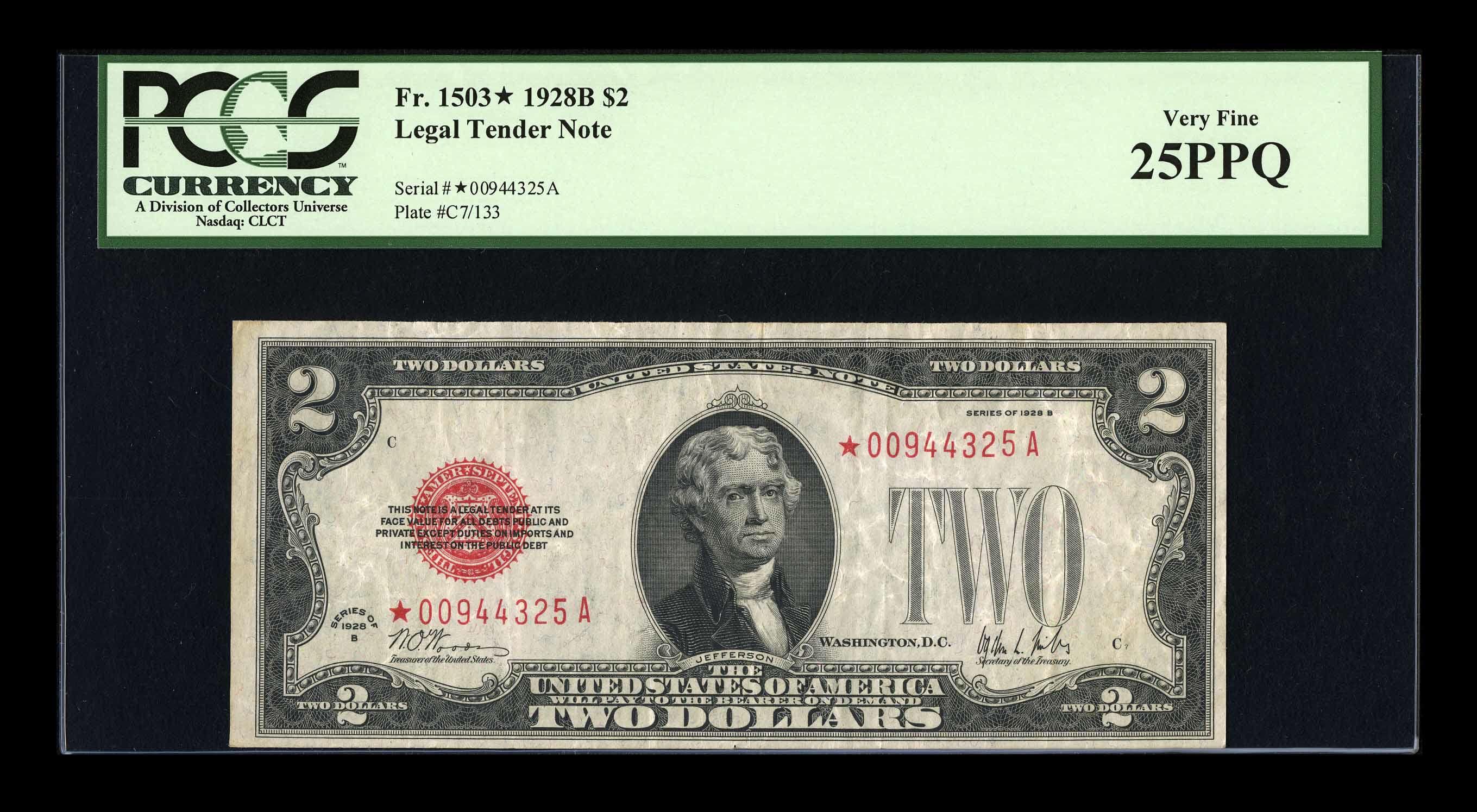 Fr. 1503* 1928B $2 Legal Tender Note - Woods-Mills - 8 Known