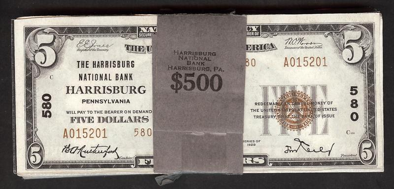 1929 $5 Type 2 National Bank Note - Harrisburg National Bank of Pennsylvania - ExecutiveCurrency.com - Asking: $39,995