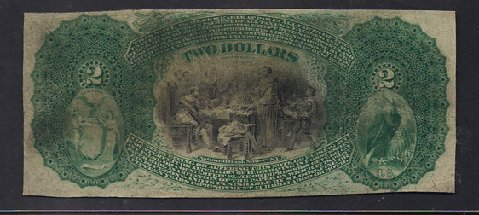 1875 $2 Lazy Deuce Serial Number 1 Tradesmans National Bank of New York Reverse
