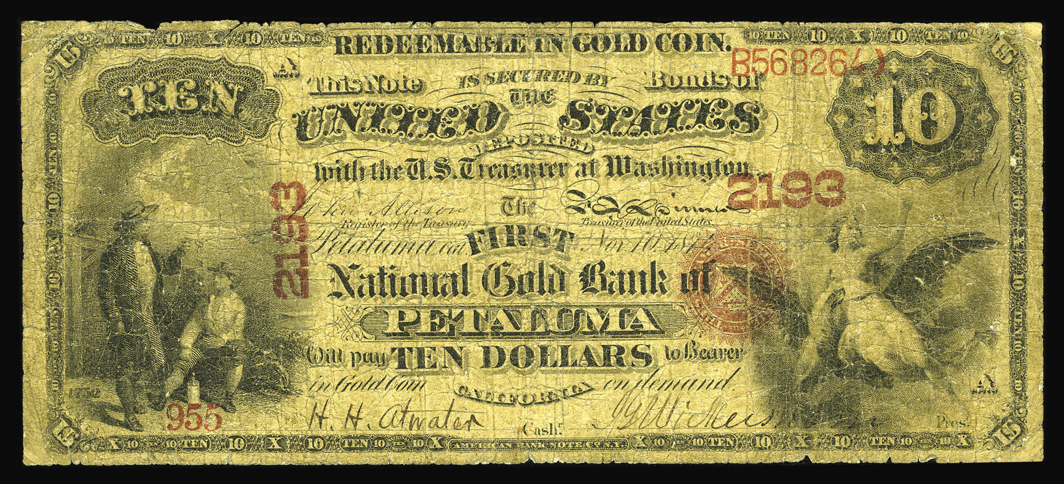 Fr. 1149 1874 $10 First National Gold Bank Note Charter 2193 Raw Very Good - 2006 Heritage Auctions
