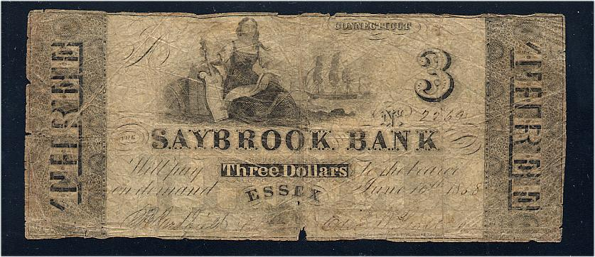 1858 $3 Essex Saybrook Bank Connecticut Obsolete Note - Good Condition, ex. Don Kelly