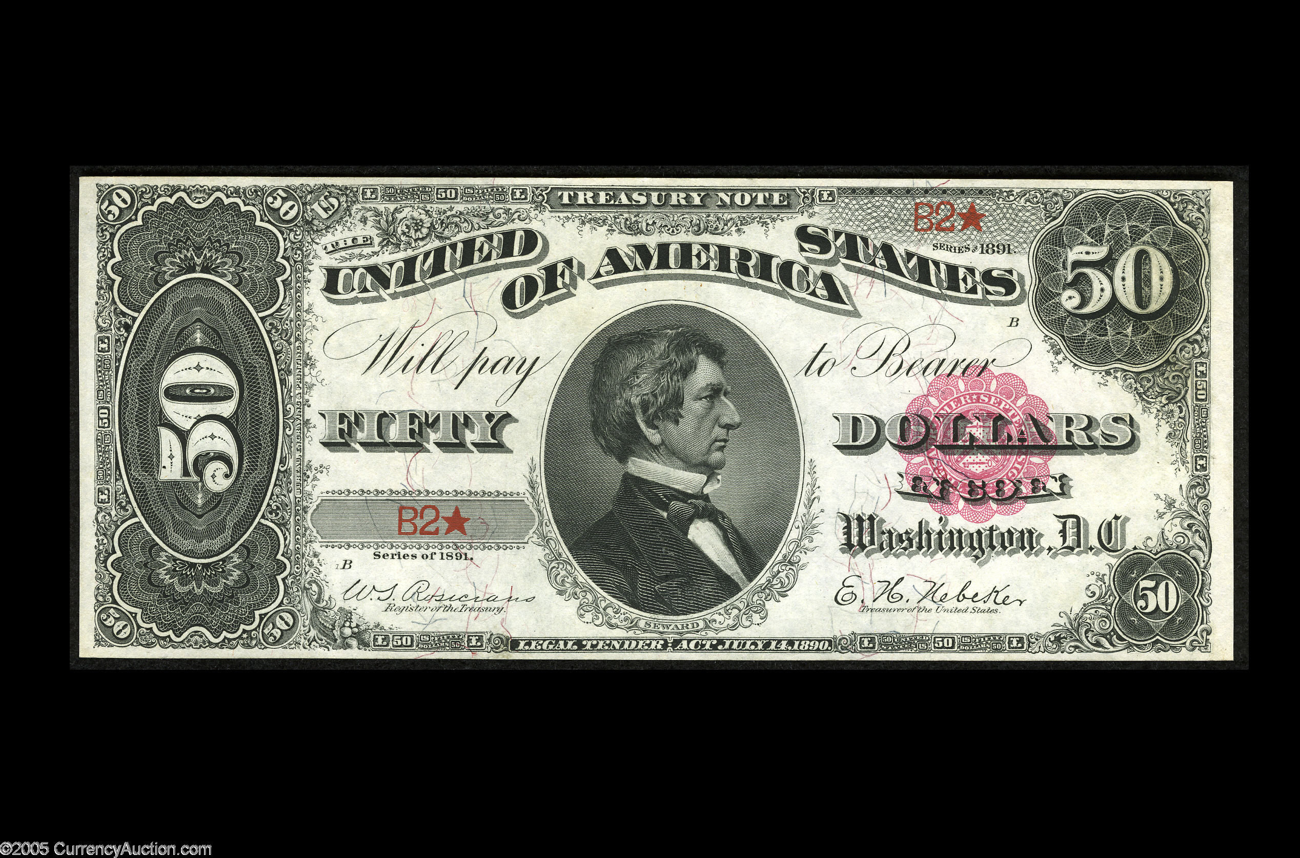 Fr. 376 1890 $50 Treasury or Coin Note - Choice New - 2005 CAA St. Louis Heritage Auctions