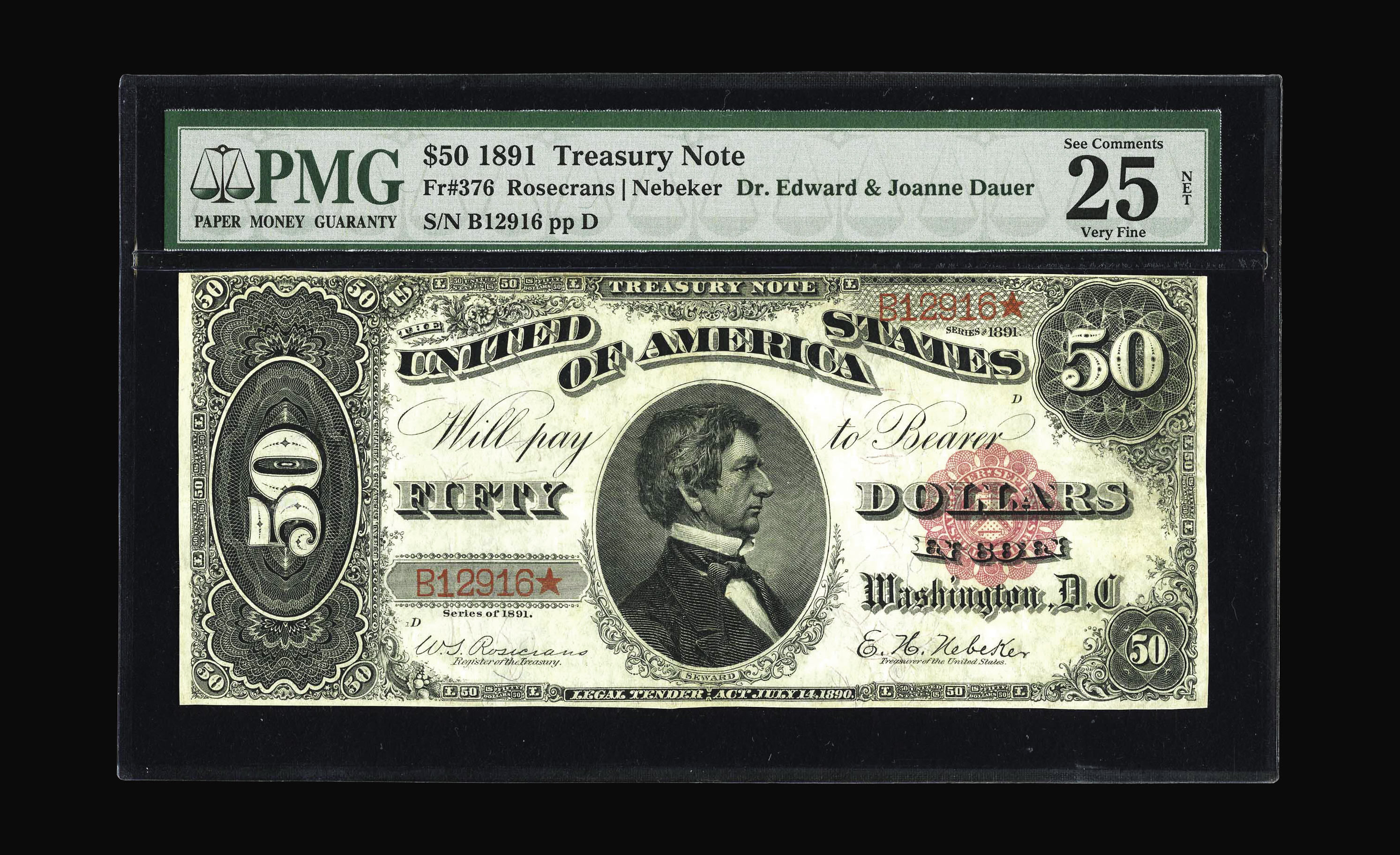 Fr. 376 1890 $50 Treasury or Coin Note - PMG VF Net - 2006 September Long Beach Currency Auction