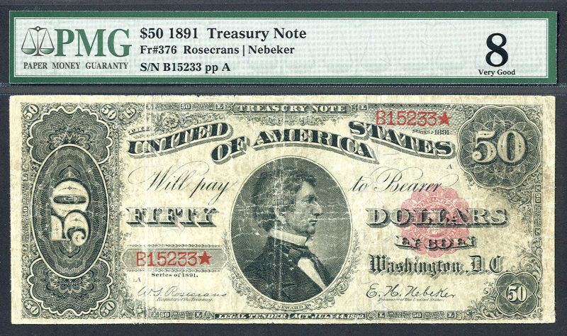 Fr. 376 1890 $50 Treasury or Coin Note - PMG VG 8 - www.currencyquest.com