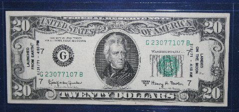 1963A $20 Federal Reserve Note - Apollo 14 Moon Landing