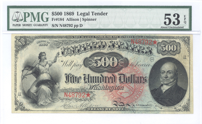 Fr. 184 1869 $500 Legal Tender