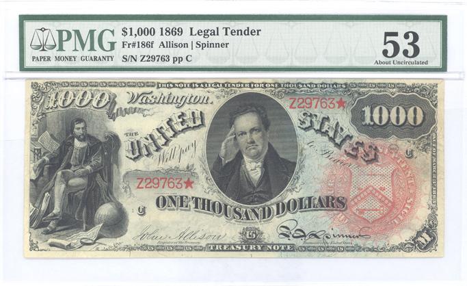 Fr. 186f 1869 $1000 Legal Tender